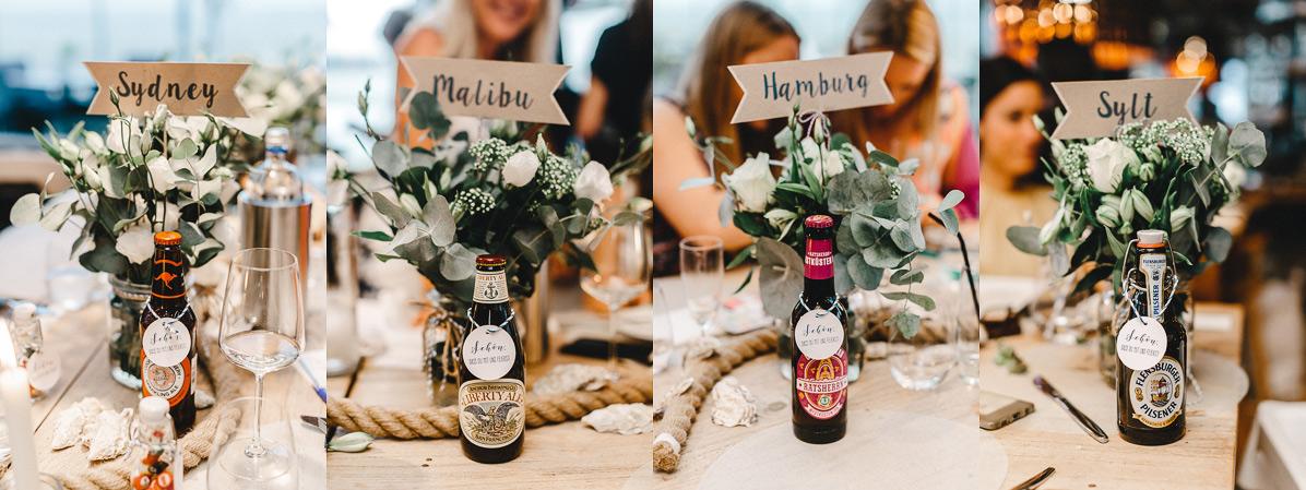 Bier aus aller Welt als Gastgeschenke passend zu den Tischnamen