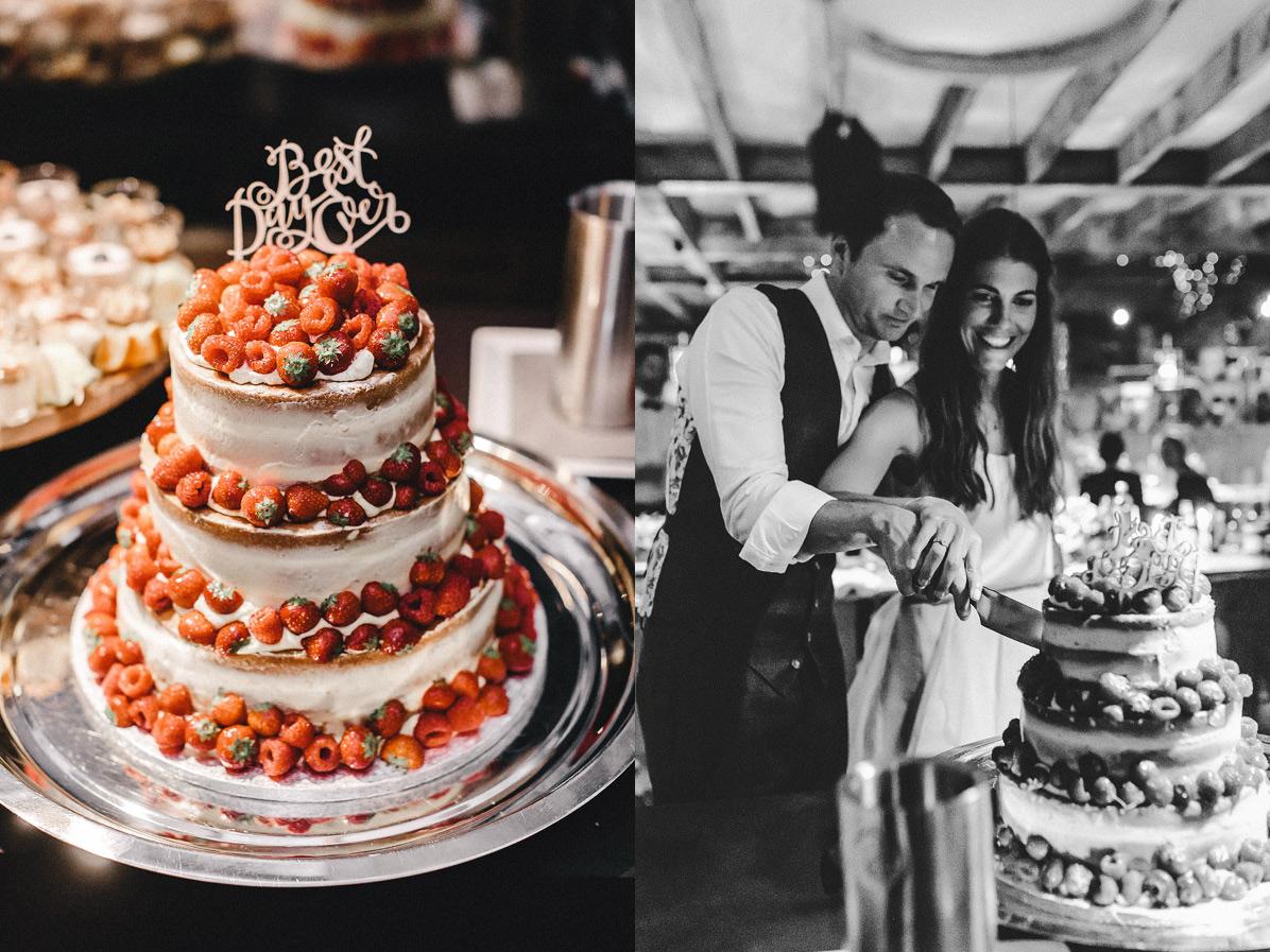 Naked Cake Hochzeitstorte mit Best Day Ever Schrift